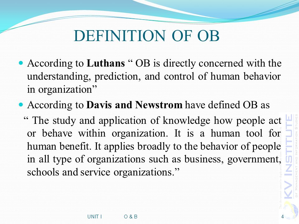 human behavior in organization definition