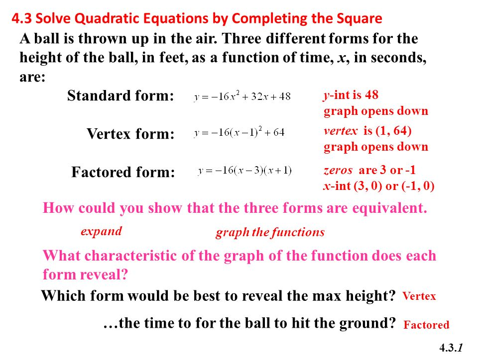 Math 20 1 Chapter 4 Quadratic Equations Ppt Video Online Download
