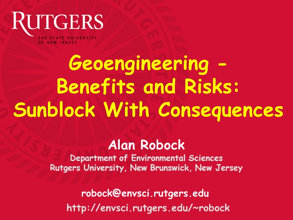 Geoengineering - Benefits and Risks: Sunblock With Consequences