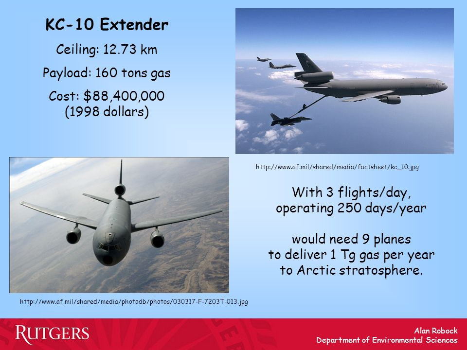 KC-10 Extender Ceiling: 12.73 km Payload: 160 tons gas