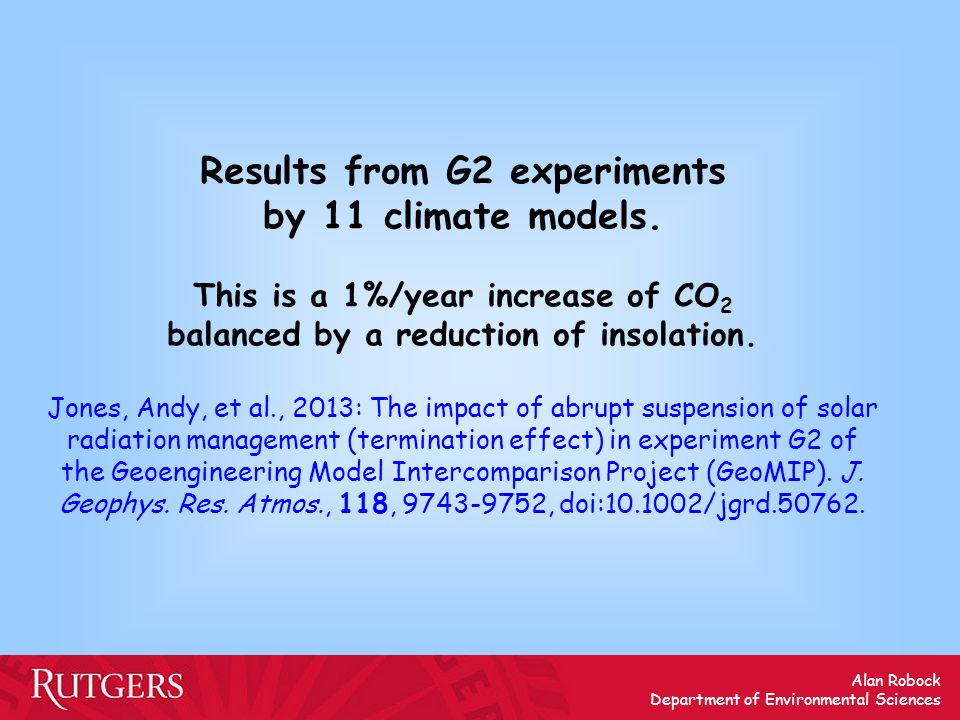 Results from G2 experiments by 11 climate models.