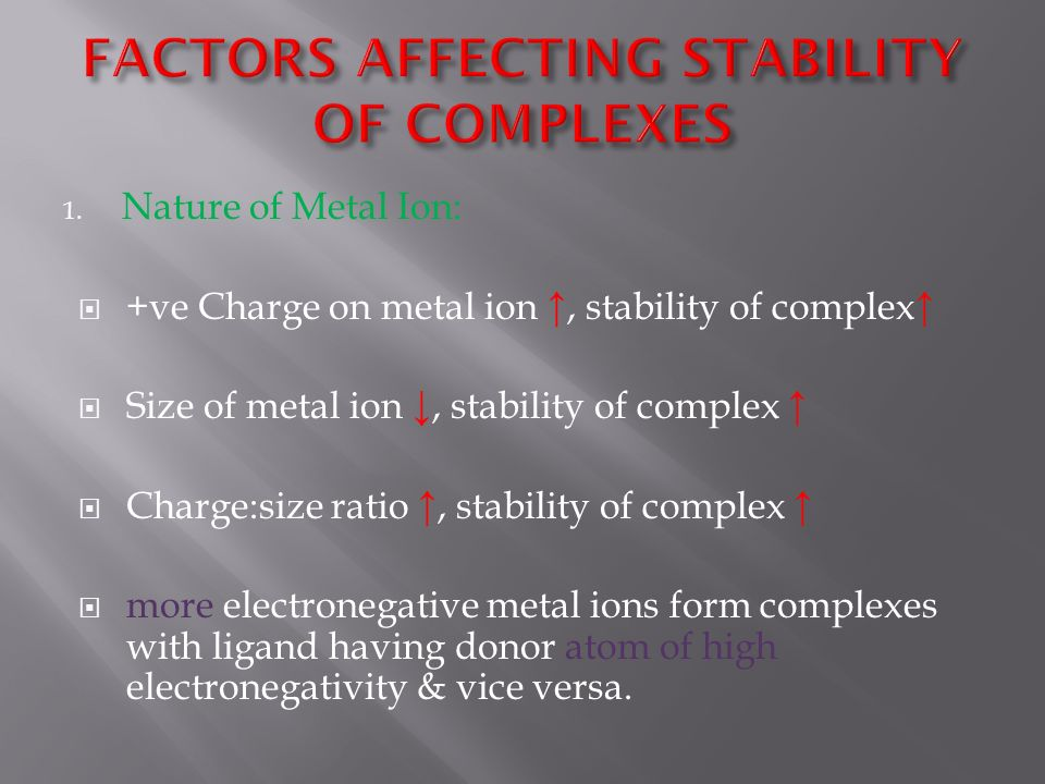 THERMODYNAMIC & KINETIC ASPECTS OF METAL COMPLEXES - ppt