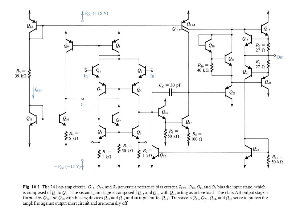 Fig. 10.1 The 741 op-amp circuit. Q11, Q12, and R5 generate a reference Op Amp Schematic on
