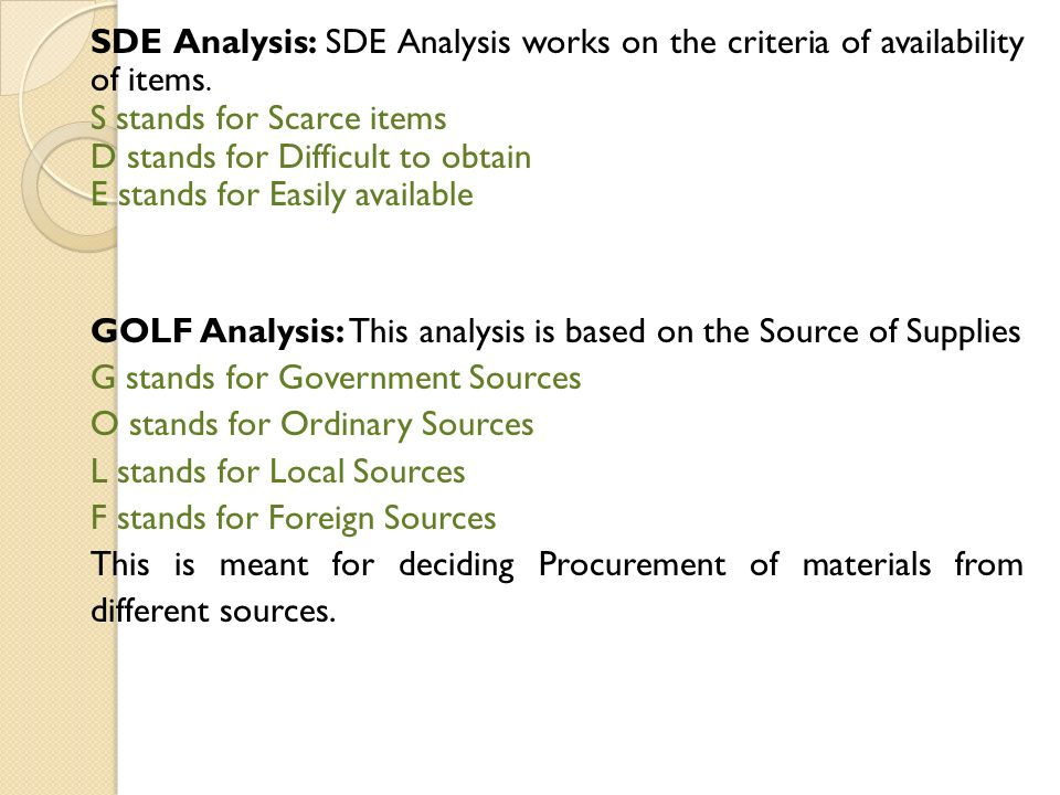 sde analysis