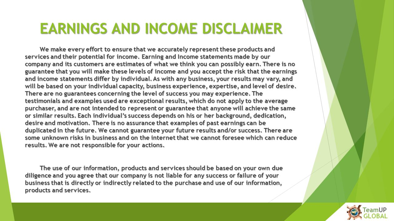Earnings Disclaimer >> Earnings Disclaimer Auto Car Update