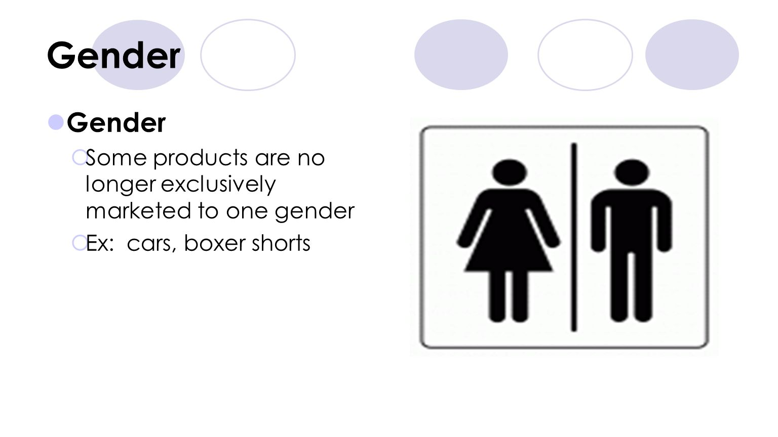 Gender Gender. Some products are no longer exclusively marketed to one gender.