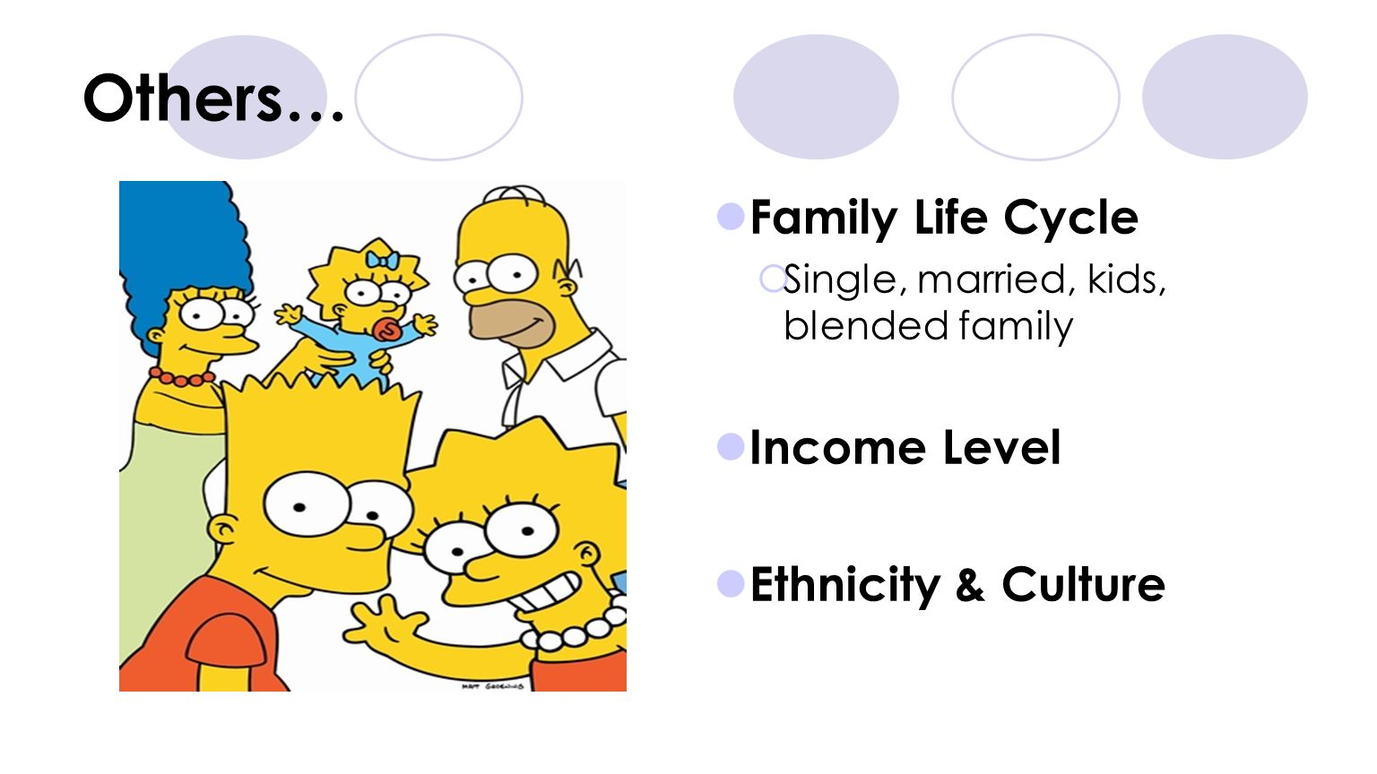 Others… Family Life Cycle Income Level Ethnicity & Culture