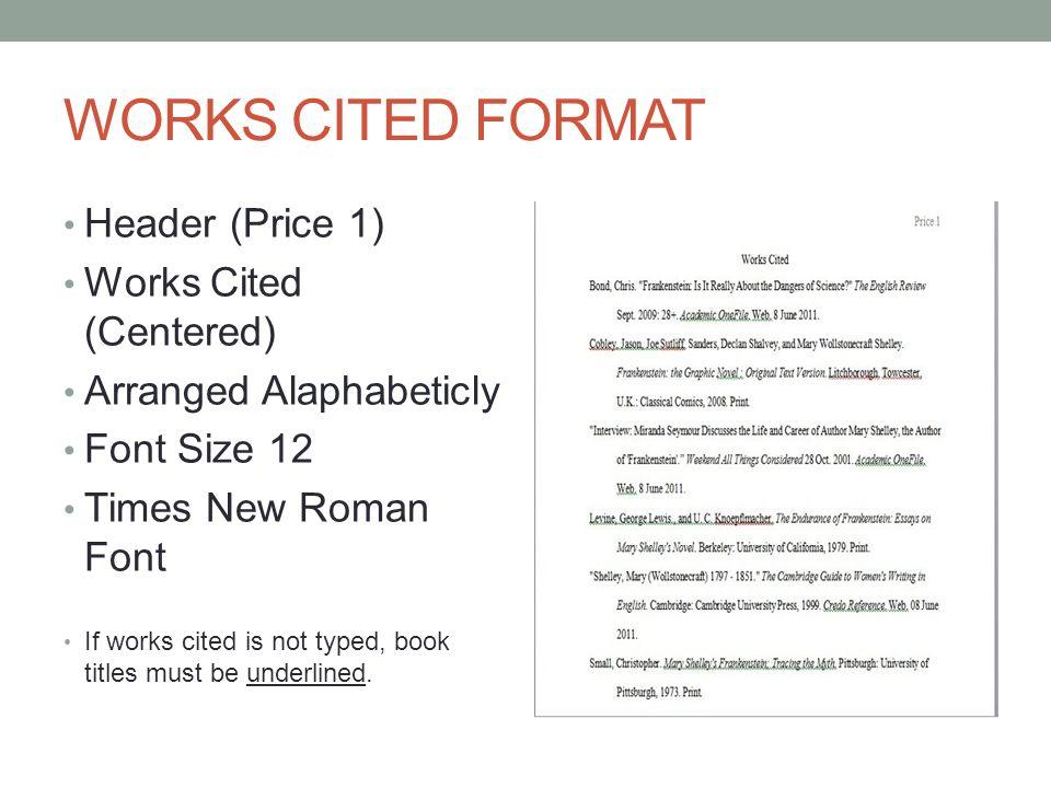 works cited format mla