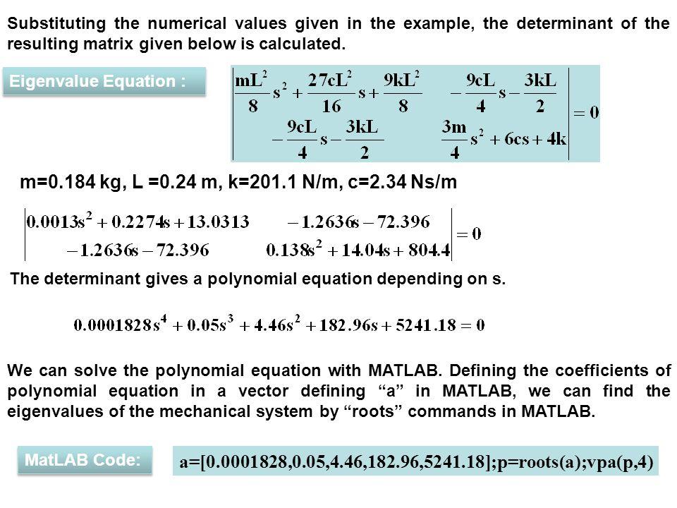 Free vibration Eigenvalue equation EIGENVALUE EQUATION - ppt video