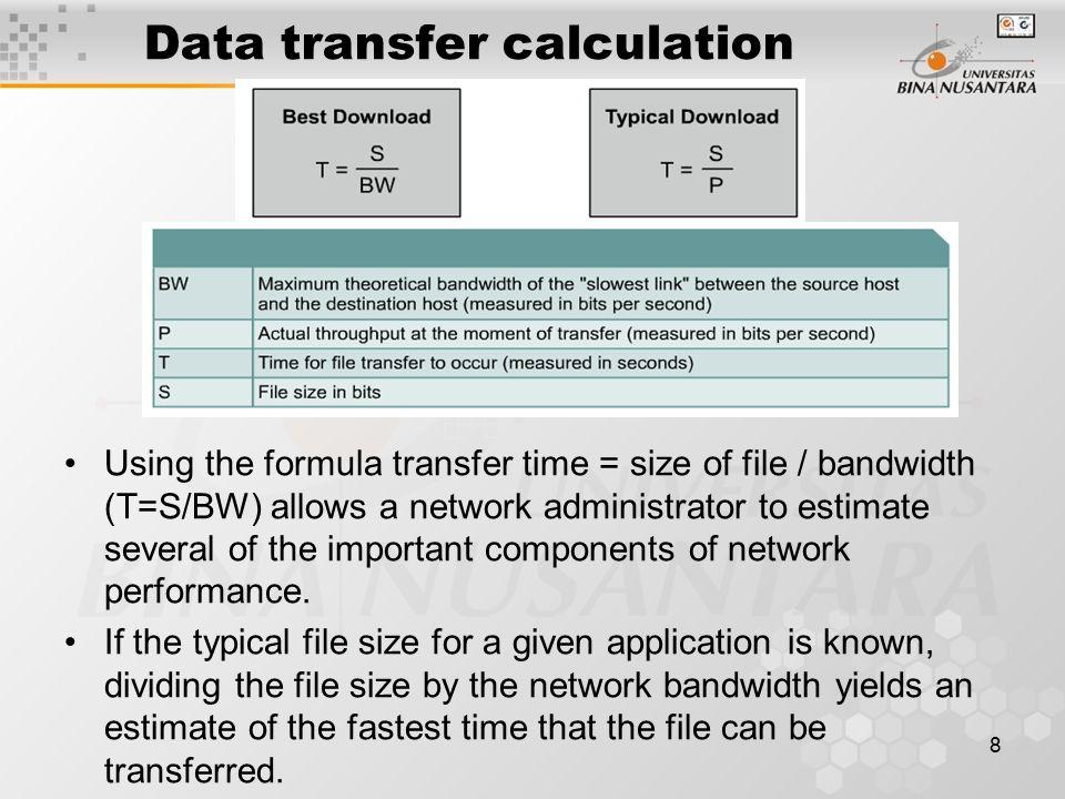 Bandwidth data transfer calculator