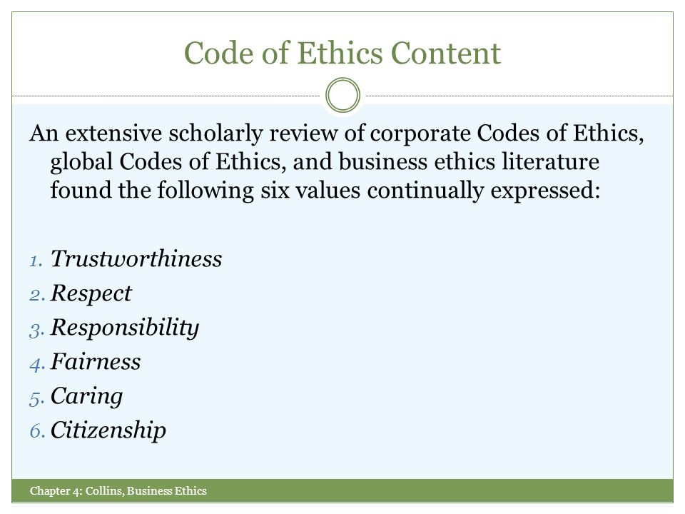codes ethics literature review