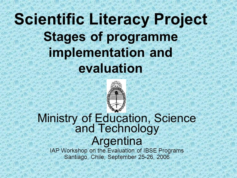 Scientific Literacy Project Stages of programme implementation and evaluation