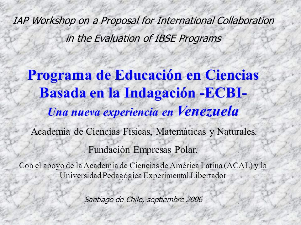 IAP Workshop on a Proposal for International Collaboration