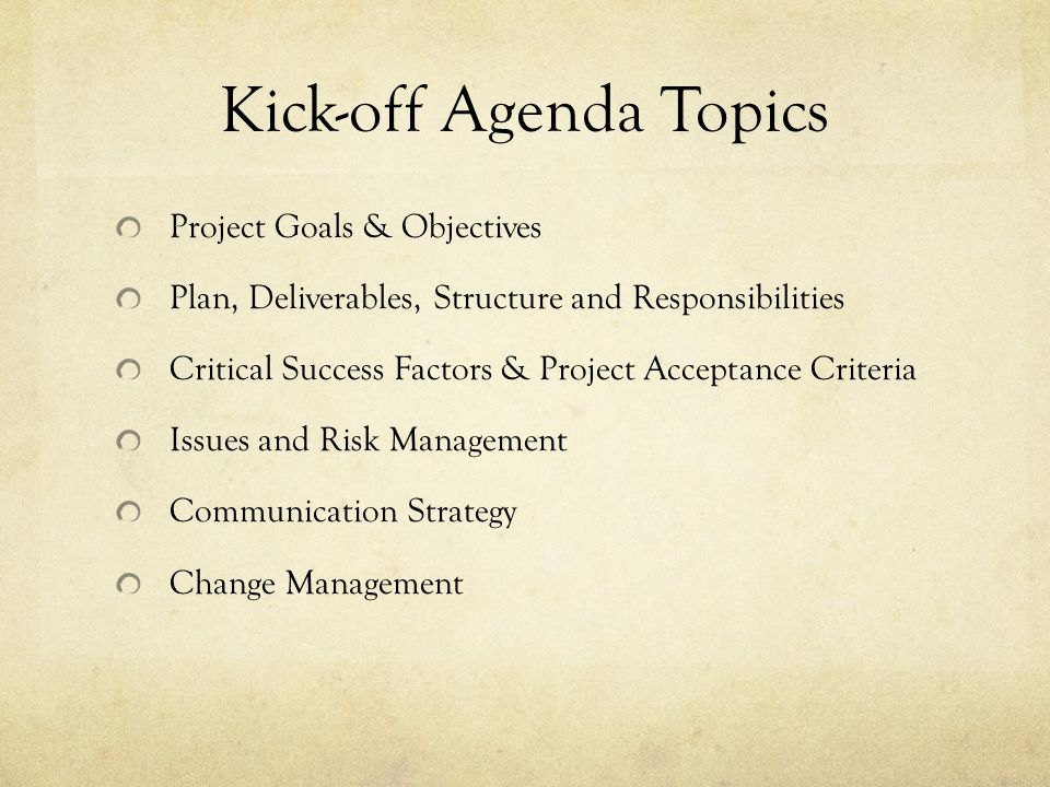 effective project kick-off meeting