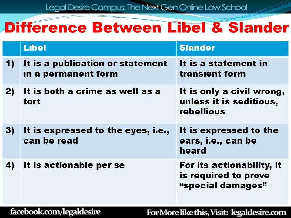 difference between libel and slander in tort