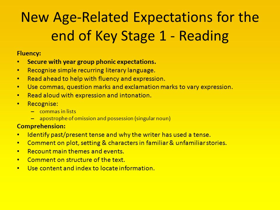 Reading writing and maths reception and key stage one ppt video new age related expectations for the end of key stage 1 reading ibookread Read Online