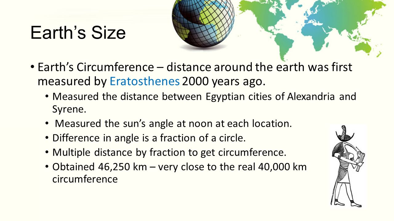 the process of calculating the earths circumference by eratosthenes He did this by measuring the sun's angles at two different positions on the earth, alexandria and syene (now aswan in egypt), at the same time and then calculating the central angle to determine an empirical value for the circumference of the earth.
