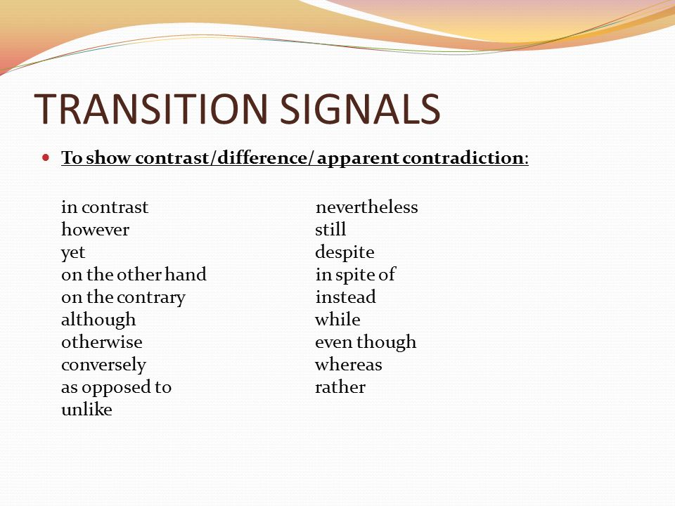 contradicting transition words