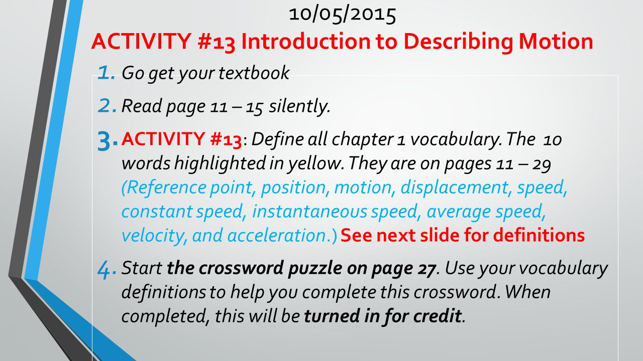 velocity lesson plans middle school