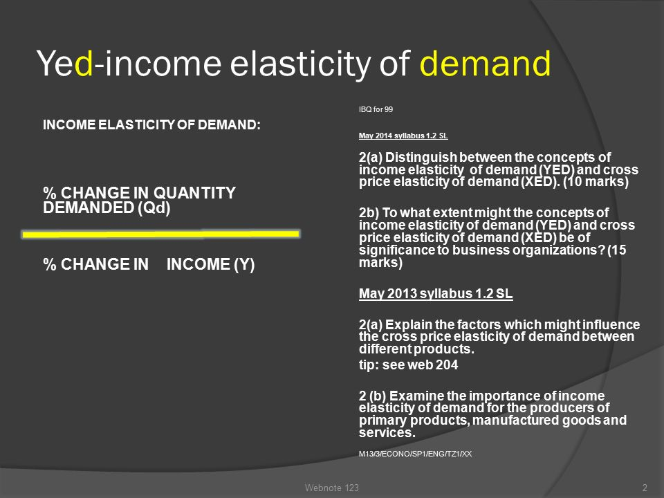 distinguish between price elasticity and income elasticity of demand