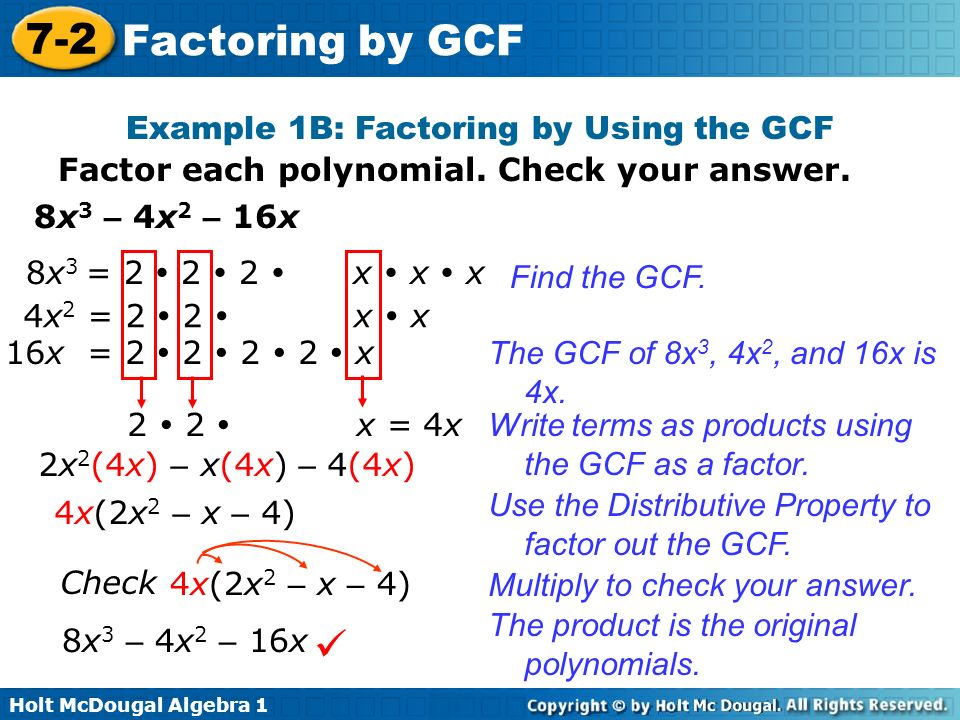 Objective Factor Polynomials By Using The Greatest Mon. Exle 1b Factoring By Using The Gcf. Worksheet. Factoring Polynomials Gcf Worksheet At Clickcart.co