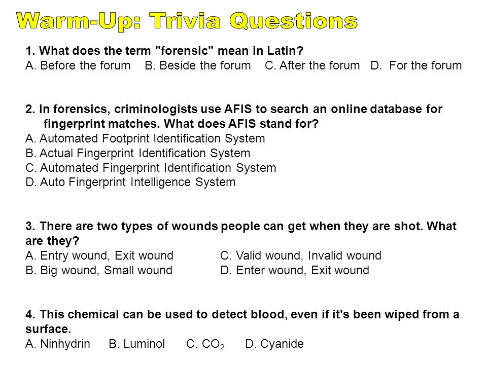 Warm-Up: Trivia Questions - ppt download