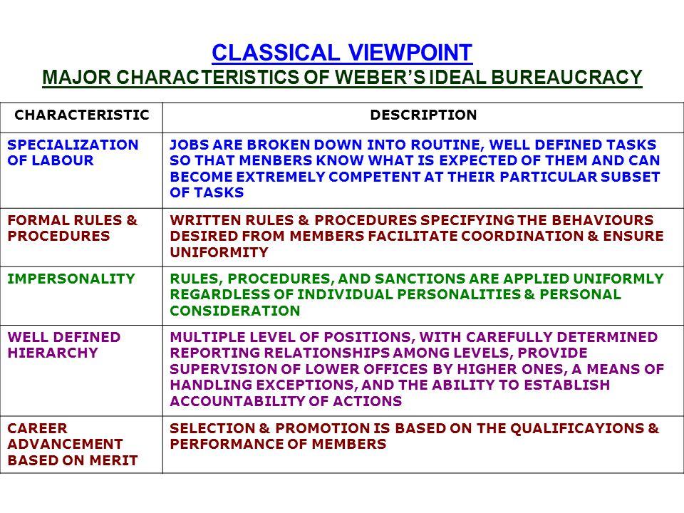characteristics of bureaucracy pdf