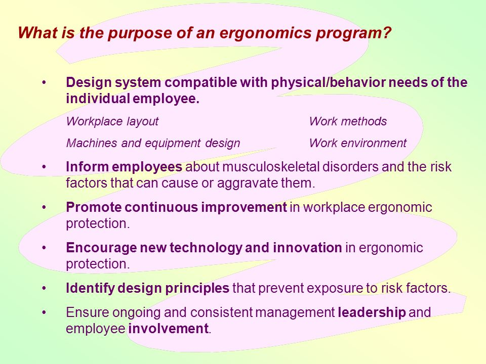 the application of the concept of ergonomics in the workplace A complete introduction to the field, ergonomics: foundational principles, applications and technologies discusses scientific principles, research, applications, and emerging trends in technology covering the foundational principles and major topics in physical ergonomics, the book contains the necessary components of a quality ergonomics.