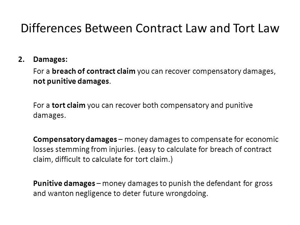 difference between tort and contract