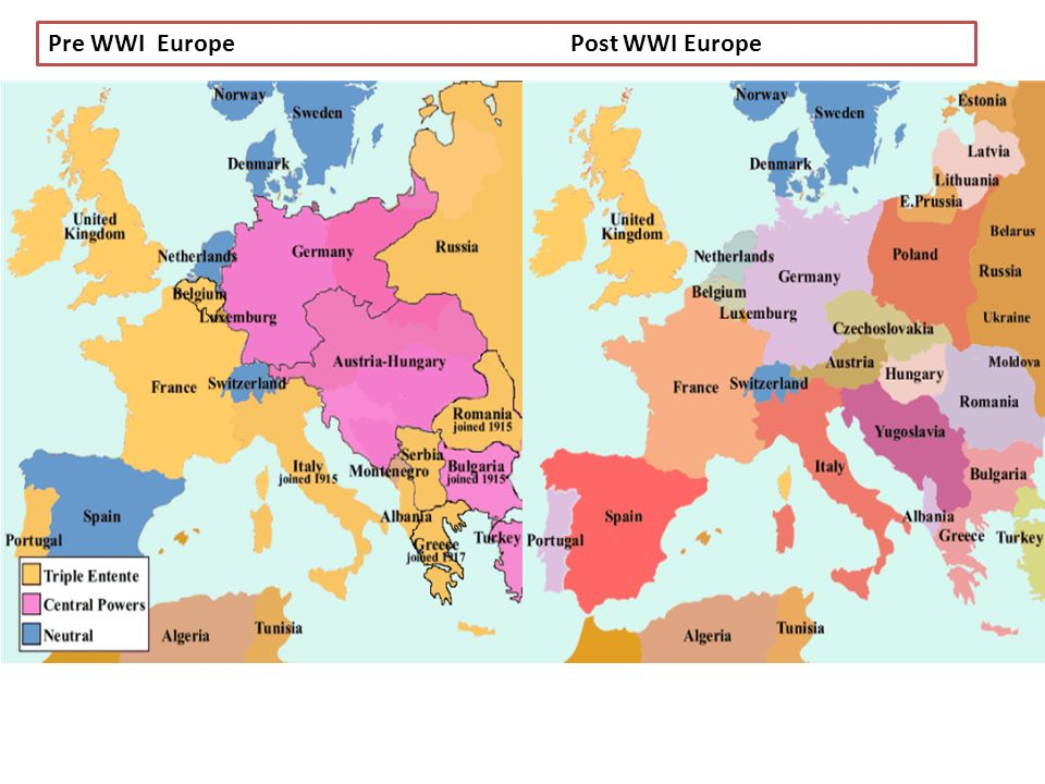 Pre Wwi World Map.Map Of Europe Pre Post Wwi