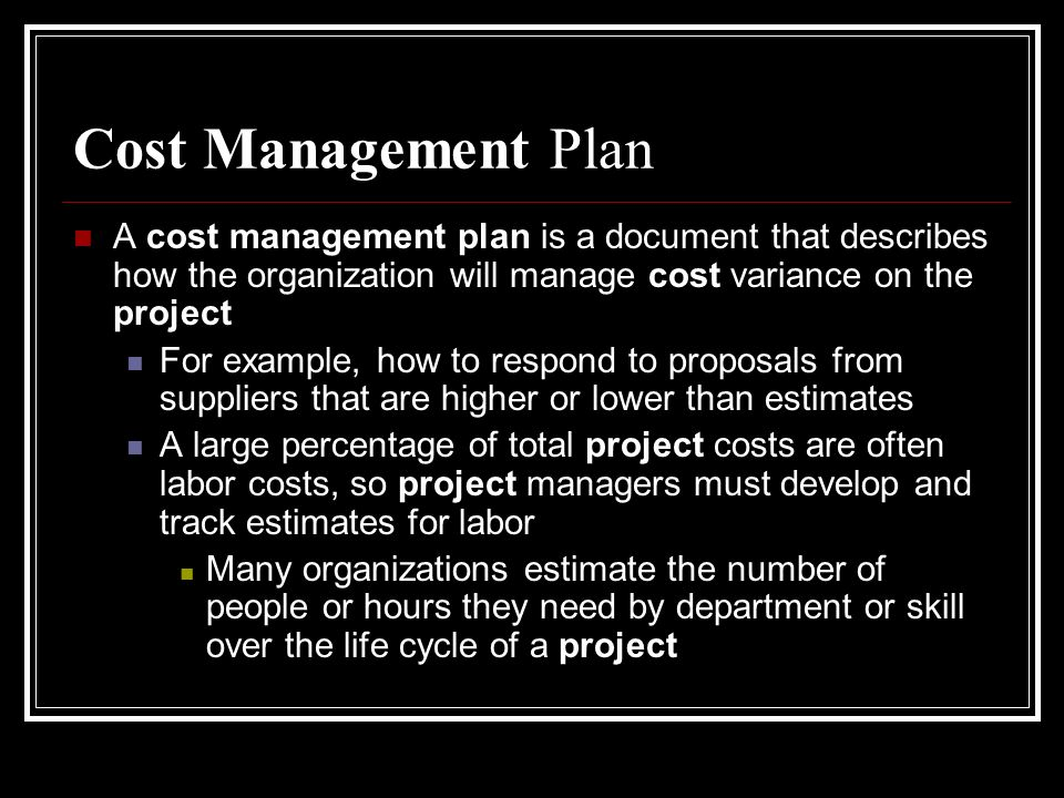 4 Cost Management Plan