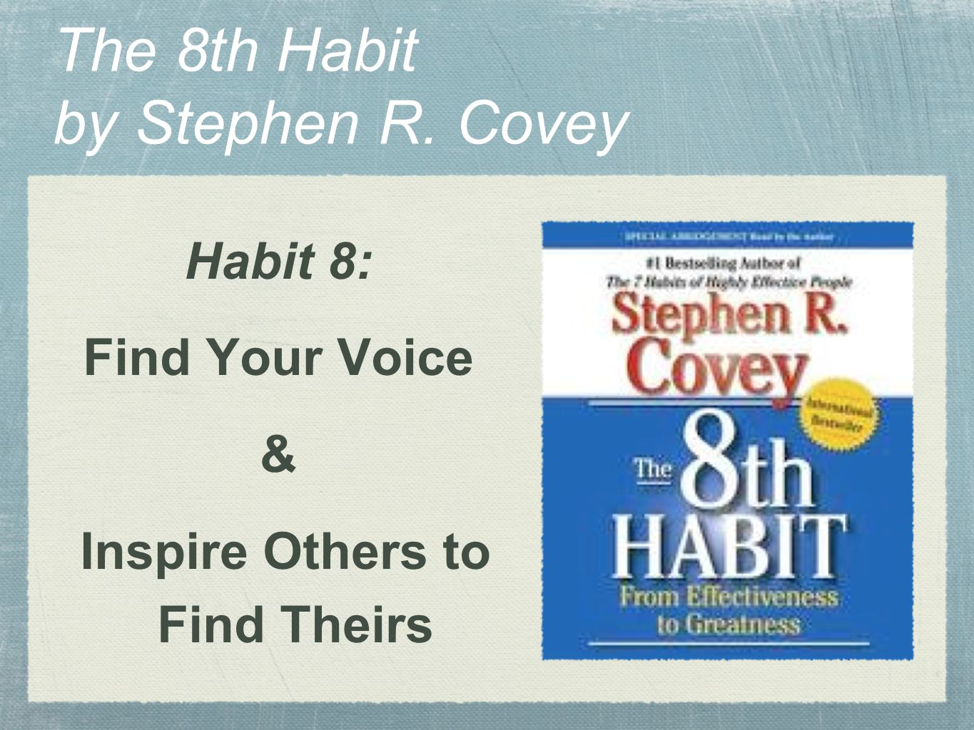 The Eighth Habit By Stephen Covey Pdf
