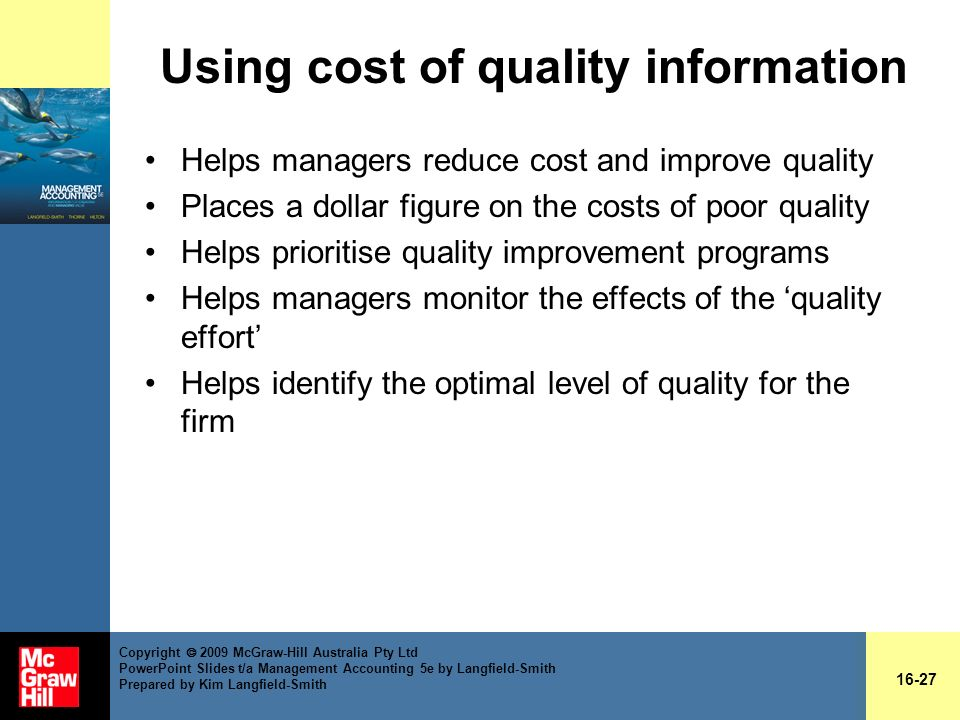 Cost of quality ppt slides.