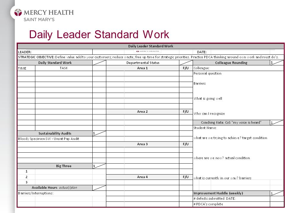 great leader standard work template images gtgt change log