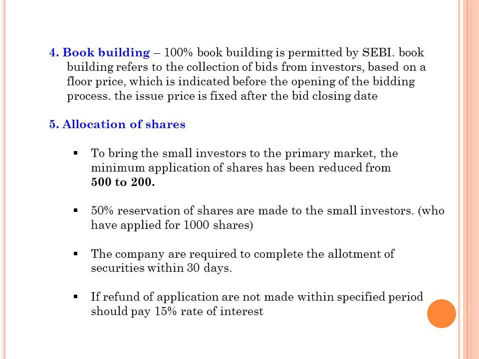 sebi guidelines for book building