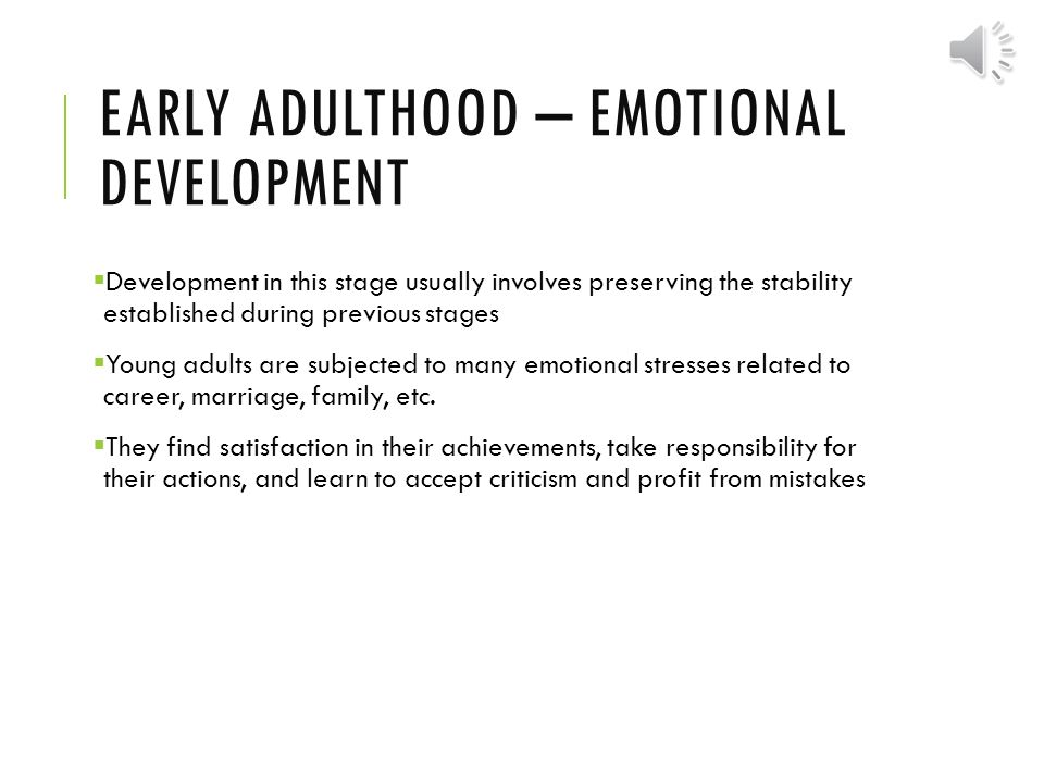 emotional and social development in early adulthood
