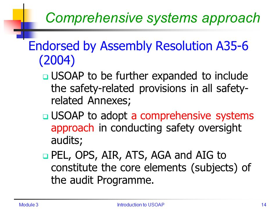 usoap comprehensive systems approach ppt video online download rh slideplayer com Audit Manual Template icao safety oversight audit manual
