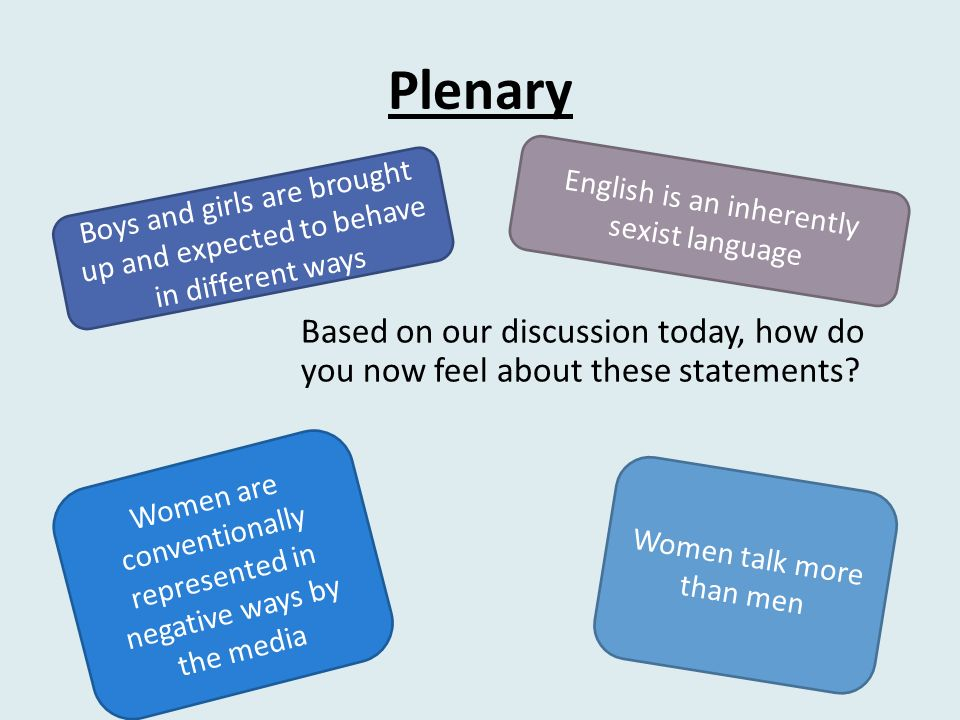 essay by students on how language can be sexist Do you use sexist language sexist language creeps into the most honest writing in the most innocent let's review common forms of sexist writing and how to avoid them one solution will not solve all non-sexist: before taking the final exam, students should study last semester's materials.