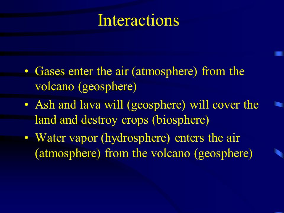 Interactions Gases enter the air (atmosphere) from the volcano (geosphere)