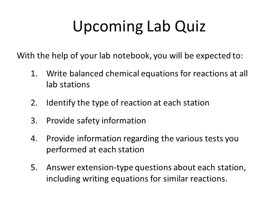 a chemical experiments to classify the reactions and write balanced equations We'll learn about the five major types of chemical reactions: synthesis, decomposition, synthesis, single replacement (also called single displacement) and double replacement (also called double.