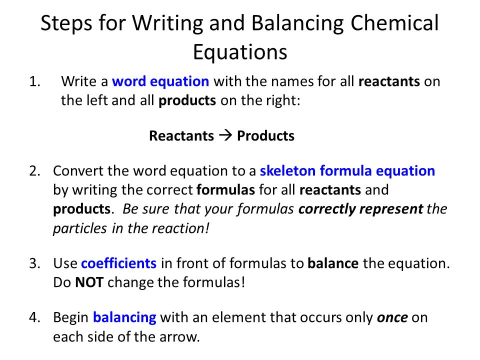 Chemical Reactions Unit Ppt Download. Steps For Writing And Balancing Chemical Equations. Worksheet. Word Equations To Balance Worksheet At Mspartners.co