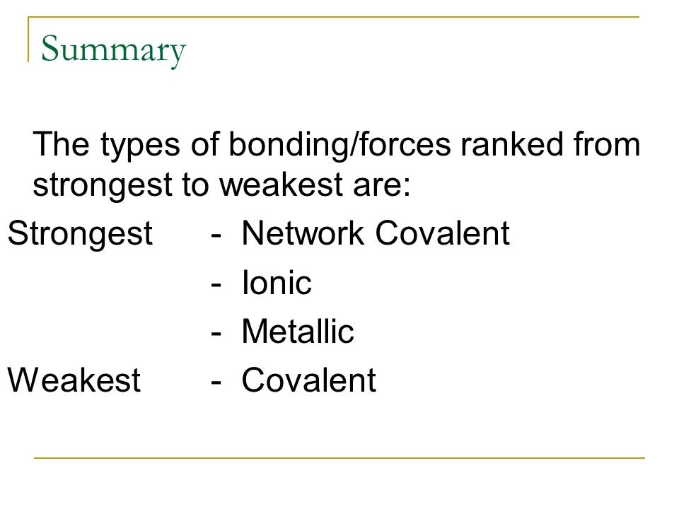 Unit 2 Chemical Bonding Ppt Video Online Download. Summary The Types Of Bondingforces Ranked From Strongest To Weakest Are. Worksheet. Intermolecular Forces Strongest To Weakest Worksheet At Clickcart.co