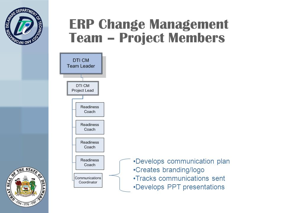 erp change management team project members