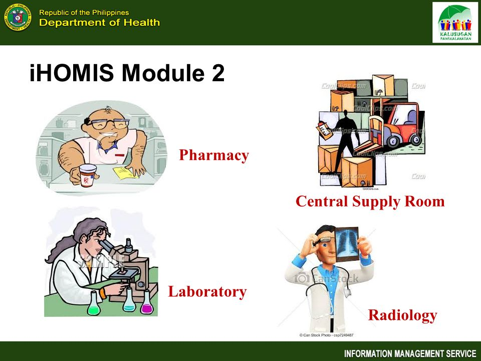 iHOMIS Module 2 Pharmacy Central Supply Room Laboratory Radiology