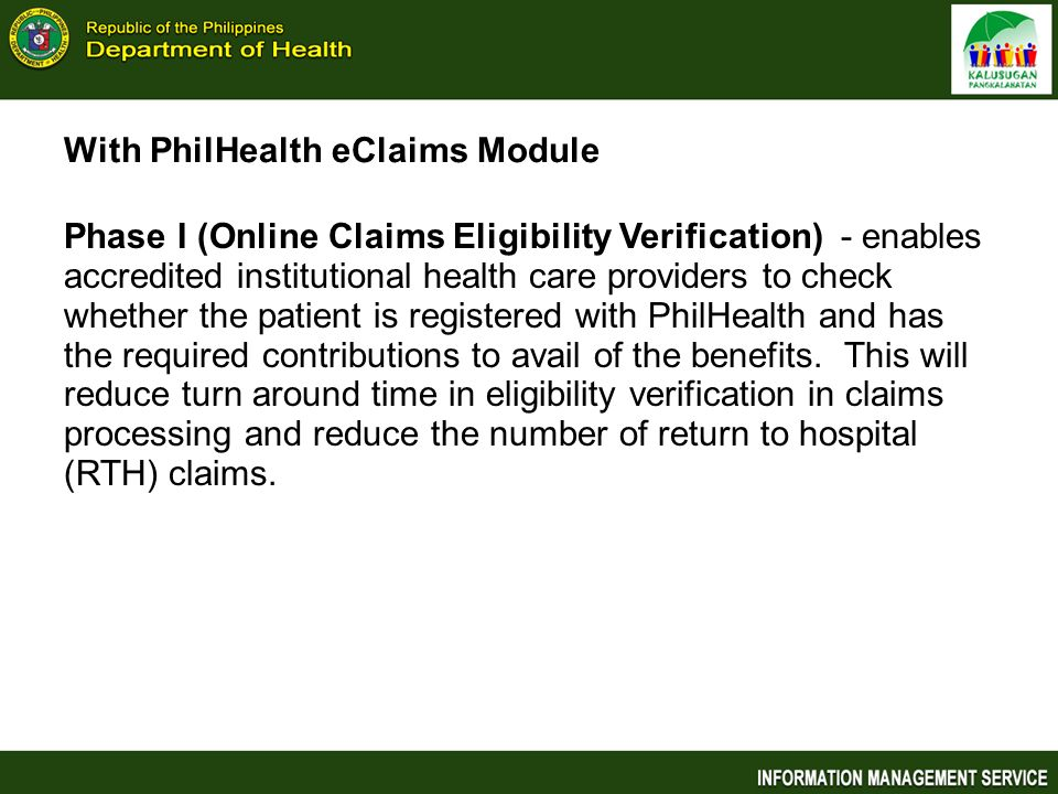 With PhilHealth eClaims Module