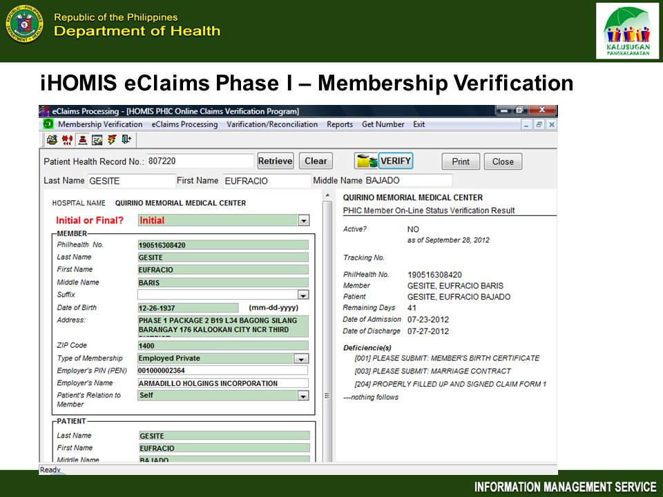 iHOMIS eClaims Phase I – Membership Verification