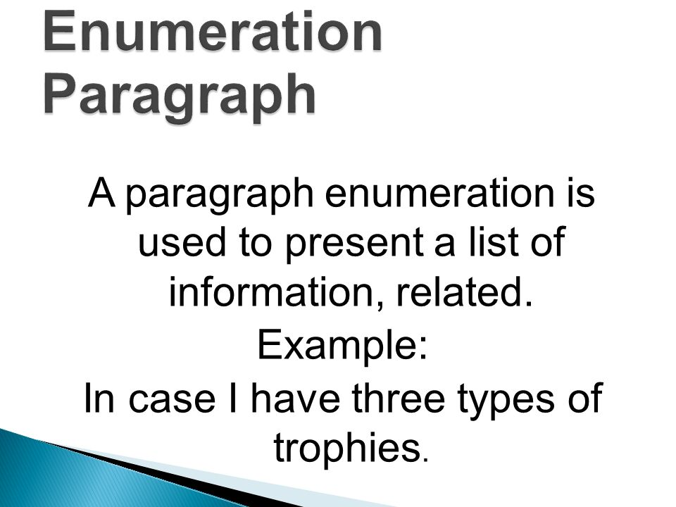 enumeration example paragraph