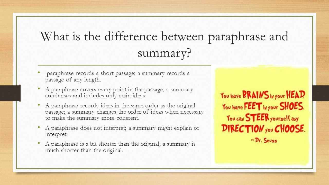 how is a paraphrase similar to a summary