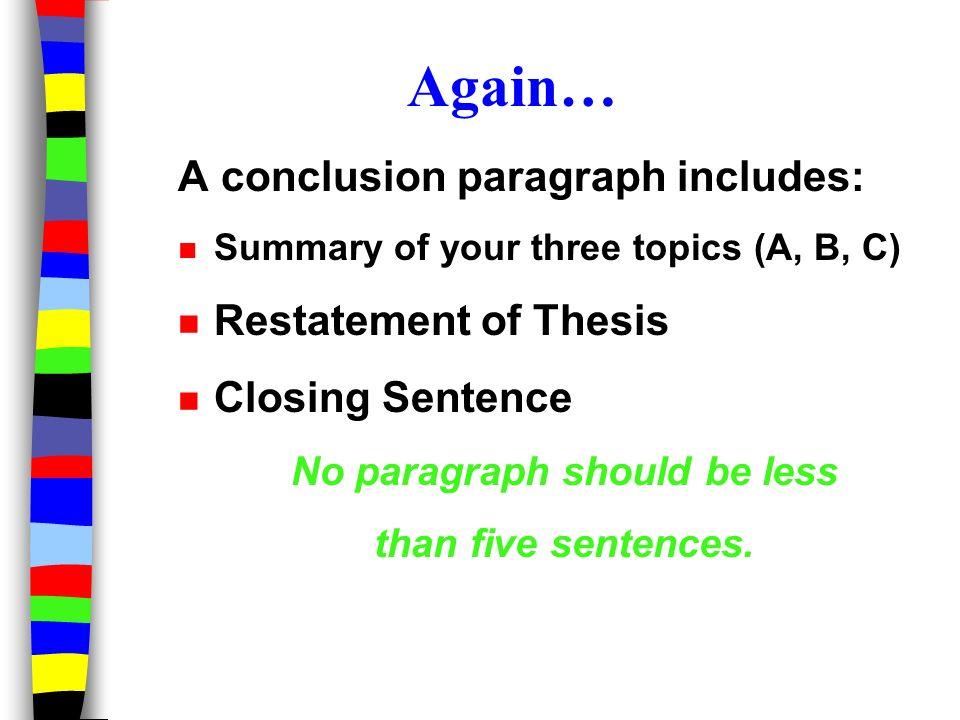 what a conclusion paragraph should include