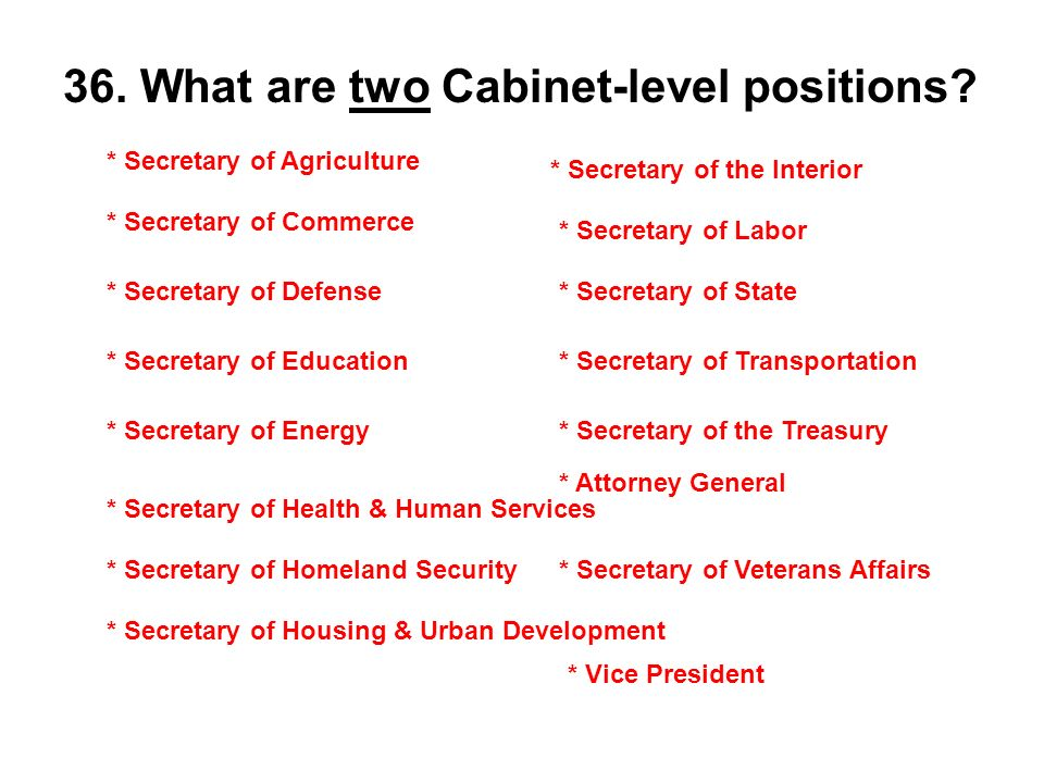 cabinet level positions what are 2 cabinet level information 12948